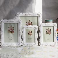 ingrosso fiori di rosa della resina-Cornice in resina bianca cornice vintage cornice cornici per foto rose cornici per fiori soggiorno decorazioni per la casa regalo 6 7 8 10 pollici dbc vt1668