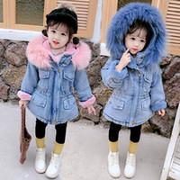 baby girl jeans de invierno al por mayor-Abrigo de invierno abrigos acolchados de algodón pantalones vaqueros del bebé de la muchacha de invierno gruesa diseñador chaquetas ropa de niños muchachas de la ropa