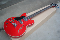 Wholesale left hand basses for sale - Group buy Factory Custom Left Handed Semi hollow Red Electric Bass Guitar with Strings Rosewood Fretboard Chrome Hardwares Can be customized