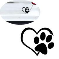 ingrosso vinile vinile adesivi-carta da parati Wall Sticker Pet Paw Print With Heart Dog Cat Decalcomania del vinile Paraurti per auto Adesivo per pareti Decorazioni per la casa S300108