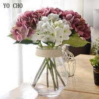 ingrosso fiori artificiali blu ortensia-YO CHO da sposa damigella d'onore bouquet da sposa bianco blu di seta artificiale ortensia fiori fai da te festa di casa prom decor forniture di decorazione di nozze