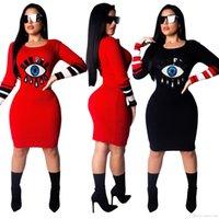 kırmızı uzun kollu kalem elbise toptan satış-Payetli Gözler Eklenmiş Seksi Bandaj Elbise Kadın O Boyun Uzun Kollu Kısa Elbise Sonbahar Moda Siyah / Kırmızı Kalem Elbise Siyah kırmızı
