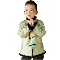 ingrosso giallo trapuntato-Giallo tradizionale cinese Tang Costume Baby Boys Cappotti Camicette per bambini trapuntati bambini Outfit Capispalla Top China Dress Festival