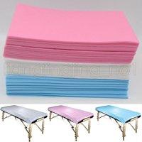 camas de spa al por mayor-80 * 180 cm Desechables Médicos No Tejidos Salón de Masaje de Belleza SPA Hotel dedicado Cojines de Cama Hojas de Cubierta 3 Colores AAA628