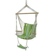 ingrosso amaca deluxe-Aggiornato Unico Hanging Hammock dondolo con poggiapiedi Amaca appesa Sky Chair Air Deluxe / Sedia da giardino coperta in legno massello