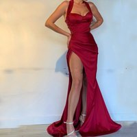 Wholesale beige sexy prom dresses resale online - Dark Red Sexy Mermaid Evening Dress High Slits Halter Satin Long Floor Length Prom Dresses Formal Party Special Occasion