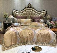 ingrosso regina di copriletto d'oro-Set biancheria da letto di lusso in pizzo palazzo europeo oro set copripiumino in raso di seta di cotone lenzuolo copriletto federe regina re 4/6 / 10pz