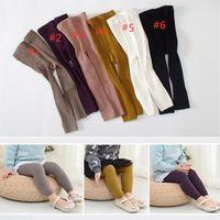 erkekler için sıkı pantolon toptan satış-INS Modası Çocuklar Erkek Kız Tayt Çorap Kızlar Tayt Çift İğneler Dokuzuncu Pantolon Yüksek Bel Sıcak Saf Pamuk Alt çorap ve Pantolon