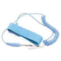 ingrosso filato nero blu-10 pz / lotto Blu Nero PVC PU fascia elastica con chip di alligatore LEKO 1.8m Bianco nero filato ESD cinghia di cinturino da polso antistatico