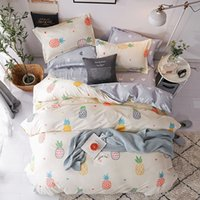 Wholesale Colorful Pineapple Bedding Set Fruit Pie Duvet Cover with Pillowcases Love Heart Bed Cover Single Double Queen King Size Bedlinen