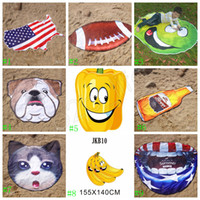 Wholesale round polyester scarf online - Irregular Beach Towel American Flag Towels Football Blanket cm Summer Animal Fruit Shape Wrap Scarf Thick Yoga Mat GGA1992