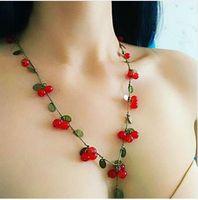 schöne koreanische frauen großhandel-Neue Mode lange Pullover Kette Schmuck für Frauen koreanische trendy schöne Rebe rote Kirsche Perlen Halskette Anhänger Zubehör