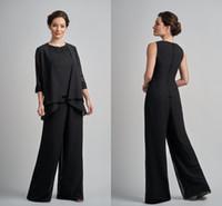 ingrosso pizzo più il vestito nero del pantalone di formato-Sexy nero tre pezzi madre della sposa sposo abiti designer gioiello collo in chiffon di pizzo pantaloni tuta abiti da sera più dimensioni