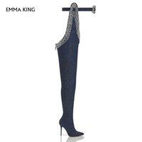 elmas saplı kovboy toptan satış-Seksi Mavi Botas Mujer Diz Üzerinde Çizmeler Noktası Toe Rhinestone Kemer Dekor Uyluk Yüksek Parti Ayakkabı Kadın Kovboy Yüksek Topuklu bayanlar