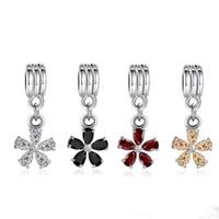 ingrosso braccialetti europei di fascino pandora-Piccolo fiore di cristallo ciondola la lega di perle di fascino brillante color argento moda donna gioielli Stunning stile europeo per bracciale Pandora