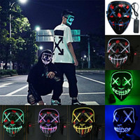 Wholesale ups man costume online - New Led Halloween Mask El Wired Light Up Purge Election Great Funny Masks Cosplay New Year Party Costume Supplies Glow In Dark