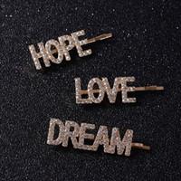 herramientas de amor al por mayor-3 Unids / set Pretty LOVE HOPE DREAM Crystal Hair Clips Para Damas Chica Boda Rhinestone Headwear Pins Belleza Herramientas Accesorios