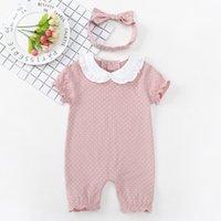les usines vendent des vêtements achat en gros de-L'usine vend des vêtements pour bébés directement dans les vêtements d'été d'été à manches courtes Hashirt pur coton nouveau-né babys dot vêtements imprimés