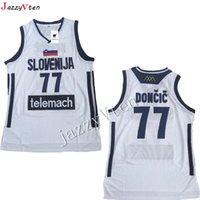 горячая баскетбольная рубашка оптовых-горячая продажа вышивка мужская #7 Doncic Джерси возврат баскетбол Джерси slovenija Team ретро сшитые рубашки Европа 77#колледж лука Джерси