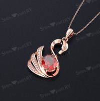 Wholesale swan pendants gold for sale - Group buy Exquisite creative fashion wild rose gold swan inlaid zircon pendant clavicle chain birthday gift