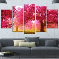 Wholesale cherry blossom wall art painting for sale - Group buy 5 Piece Canvas Painting Home Decor Picture Modern Mystery Cherry Blossom Printed Modular Poster For Living Room Wall Art Frame