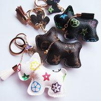 Luxury Bag Charms Key Chains PU Leather Schnauzer New Fashion Designer Keychain Accessories Animal Pendant Cartoon Dog Keyrings Ring Holder