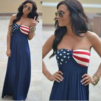 amerikanische kleider abend großhandel-Womens American Flag Kleid Sterne gestreift trägerlos gedruckt ärmellose Boho lange Maxi Abend Strand 4. Juli Sommerkleid LJJA2392