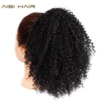 Wholesale puff kinky ponytail resale online - Drawstring Puff Afro Kinky Curly Ponytail African American Short Wrap Synthetic clip in Ponytail Hair Extensions AISI HAIR