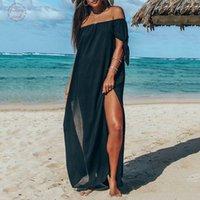 vestido largo de gasa roja diseñador al por mayor-Verano de las mujeres vestido atractivo del hombro de manga corta de gasa Ropa de diseño Red de alta gasa Negro de Split Long Beach Vestido Vestido de tirantes