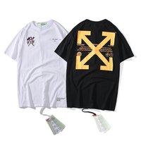 siyah çapraz t gömlek toptan satış-Erkek Tasarımcı Baskı T Shirt Kadın Marka Çapraz Oklar Mektup Baskılı Tişörtleri Hip Hop Tarzı Kısa Kollu Gevşek Sokak Tees Beyaz Siyah