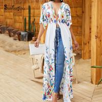 más el tamaño cubren traje de baño al por mayor-Cotton Beach Cover up 2019 Robe Plage Plus size Long Beach Tunic Swimsuit Cover up Kimono Trajes de baño Trajes de baño