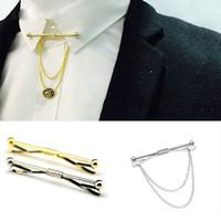 französische clips großhandel-Männer stilvolle Hemd Krawatte Kragen Clip Bar Pin Clip Kette Krawatte Brosche Krawatte Silber Plain Metal Französisch Krawattenklammer Schmuck Weihnachtsgeschenk