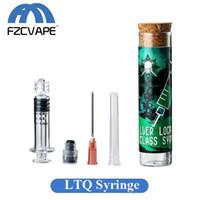 x8 vape tank großhandel-LTQVAPOR Glasspritzen-Kit 1,0 ml 2,0 ml Luer-Lock-Dampfinjektor mit Nadelspitze zum Befüllen mit dickem Öl