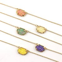 Wholesale glitter choker necklace resale online - Fashion Gold Silver Tone Glitter Druzy Geometric Pendant Choker Necklace for Women Drusy Short Chain Necklaces Jewelry Accessories