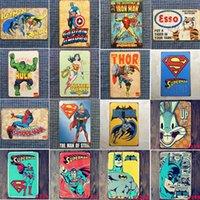 bar filmleri toptan satış-Marvel Film Süper Kahramanlar Işaretleri Retro Metal Demir Plaka Boyama Duvar Dekorasyonu Bar Cafe Ev Club Pub Bira için 20 * 30 cm