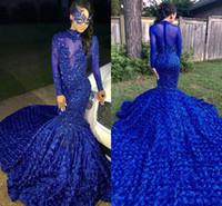 hermosa lentejuela sirena prom al por mayor-Hermosa Royal Blue sirena vestidos de baile con tren de barrido flores apliques de lentejuelas de lujo Junior Party vestidos de noche formal BC0749