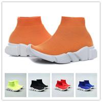 ingrosso calzini sportivi per bambini-(scatola) 2018 calzini del bambino di modo francese stivali scarpe sportive per bambini scivolare in scarpe casual allenamento di velocità, ragazzi e ragazze alta top running sho