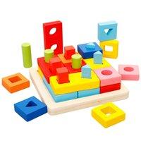 yığın oyunu toptan satış-Ahşap Geometrik İstifleme Sıralama Oyuncaklar Erken Eğitim Şekli Tıknaz Bulmaca Oyunları Çocuklar İçin