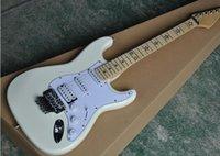sterngitarrenkörper großhandel-Fabrik Gitarre benutzerdefinierte White Body E-Gitarre mit White Pickguard, Star Inlays Ahorn Griffbrett, Floydrose, Angebot angepasst