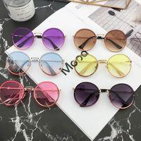 menina novos óculos de sol venda por atacado-New Summer new Crianças óculos de sol estilo vintage meninas rodada Óculos De Sol meninos praia protetora meninas Uv 400 óculos de sol adumbral FJ383