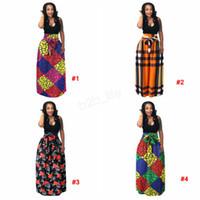top etek uzun artı boyutu toptan satış-Afrika Kadınlar Boho Dashiki Elbise Uzun Maxi Pileli Etek Baskı Büstü Etek Balo Maxi Ekose Etek artı boyutu 3 adet LJJA2888