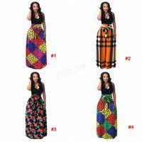 faldas de pelota largas tallas grandes al por mayor-Vestido de mujer africana Boho Dashiki Falda larga plisada larga Falda de busto de impresión Vestido de fiesta Falda a cuadros maxi talla grande 3 piezas LJJA2888