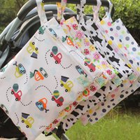 Wholesale cute baby diapers resale online - 30 cm New Waterproof Baby Diaper Bags Cute Single Layer Diapers Organizer For Infant Stroller Cart Nappy Stackers Storage Zipper Bag