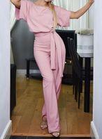 lässiger eleganter overall großhandel-Sommer Frauen Solide Lose Overall O Neck Kurzarm Elegante Overalls Lange Hosen Casual Body Overalls Plus Size Kleidung
