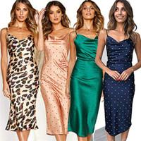 ingrosso abiti banchetti blu-Banchetto Sling Wave Point Gonna lunga Donna Leopard Print Dress Seta Sexy Longuette in fibra di poliestere Materiale verde blu 28yd C1