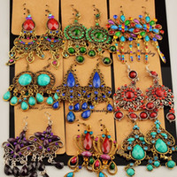 Wholesale jewelry online - Fashion mix send bohemian earring vintage tassel long style metal diamond dangle ladies jewelry top quality