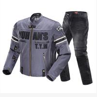 malla de montar chaquetas de moto al por mayor-DUHAN Chaqueta de Motocicleta Pantalones de Moto Hombres Malla Transpirable Racing Moto Montando Moto Chaqueta Pantalones Ropa Menmoto Cruz