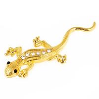 gecko aufkleber großhandel-Automobilrhinestones-Gold-farbige Gecko-Aufkleber-Verzierung