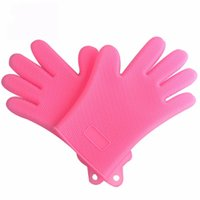 Wholesale garden tools online - Multi Function Silicone Magic Glove Safety Heat Resistant Five Fingers Gloves Thicken Kitchen Tools New Arrival ml BB