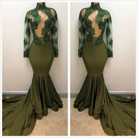 Wholesale long sleeved pink prom gown resale online - 2019 New Dark Green Sheer High Neck Satin Long Prom Dresses Long Sleeved Beaded Crystals Sweep Train Evening Gowns Vestidos Party Dress